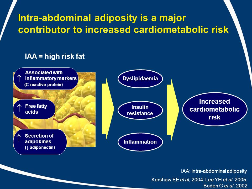 Intra-abdominal adiposity is a major contributor to increased cardiometabolic risk Kershaw EE et al, 2004; Lee YH et al, 2005; Boden G et al, 2002 Associated with inflammatory markers (C-reactive protein)  Free fatty acids  Inflammation Insulin resistance Dyslipidaemia Increased cardiometabolic risk IAA = high risk fat Secretion of adipokines ( ↓ adiponectin)  IAA: intra-abdominal adiposity