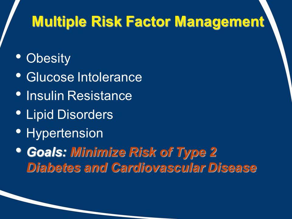 Multiple Risk Factor Management Obesity Glucose Intolerance Insulin Resistance Lipid Disorders Hypertension Goals: Minimize Risk of Type 2 Diabetes an