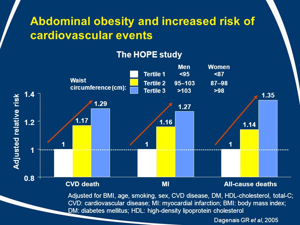 Abdominal obesity and increased risk of cardiovascular events Dagenais GR et al, 2005 Adjusted relative risk 111 1.17 1.16 1.14 1.29 1.27 1.35 0.8 1 1.2 1.4 CVD deathMIAll-cause deaths Tertile 1 Tertile 2 Tertile 3 MenWomen <95 95–103 >103 <87 87–98 >98 Waist circumference (cm): The HOPE study Adjusted for BMI, age, smoking, sex, CVD disease, DM, HDL-cholesterol, total-C; CVD: cardiovascular disease; MI: myocardial infarction; BMI: body mass index; DM: diabetes mellitus; HDL: high-density lipoprotein cholesterol