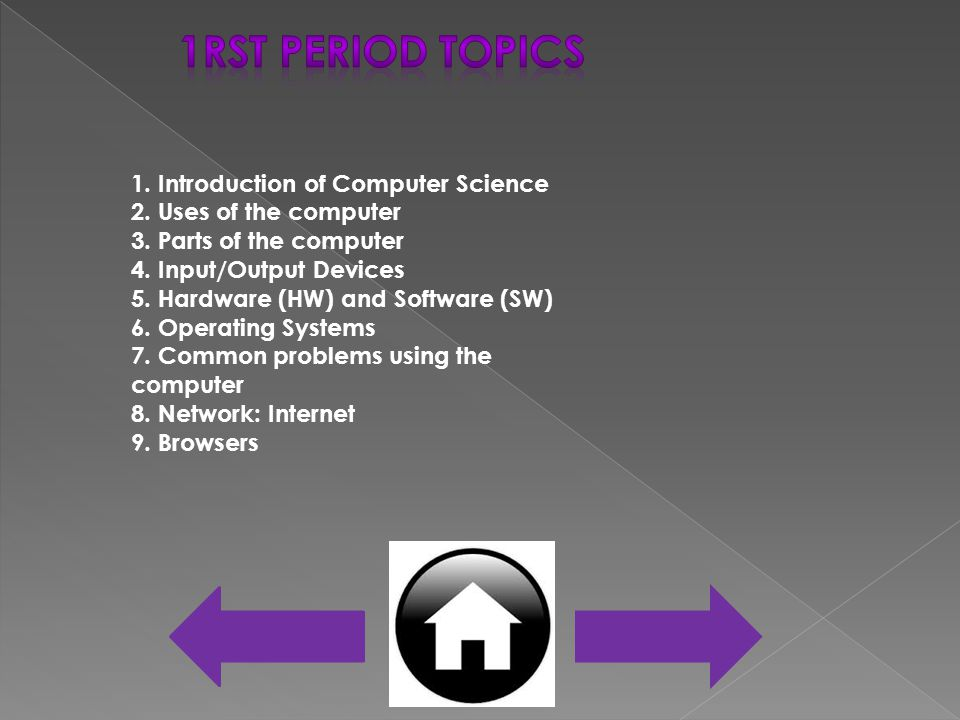 1. Introduction of Computer Science 2. Uses of the computer 3.