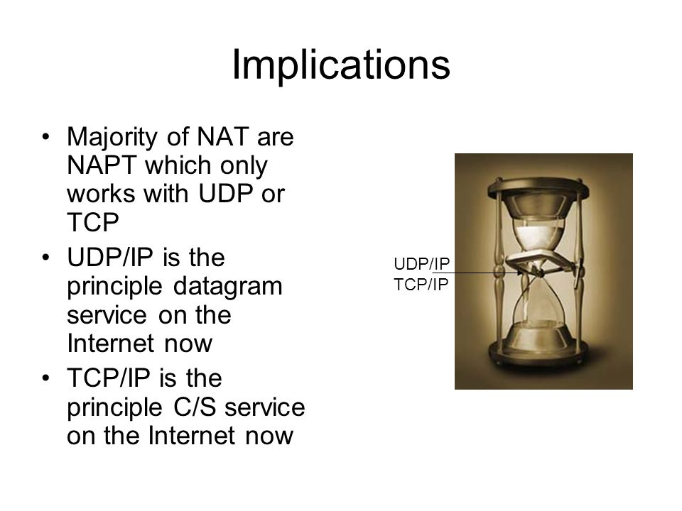 Implications Majority of NAT are NAPT which only works with UDP or TCP UDP/IP is the principle datagram service on the Internet now TCP/IP is the principle C/S service on the Internet now UDP/IP TCP/IP
