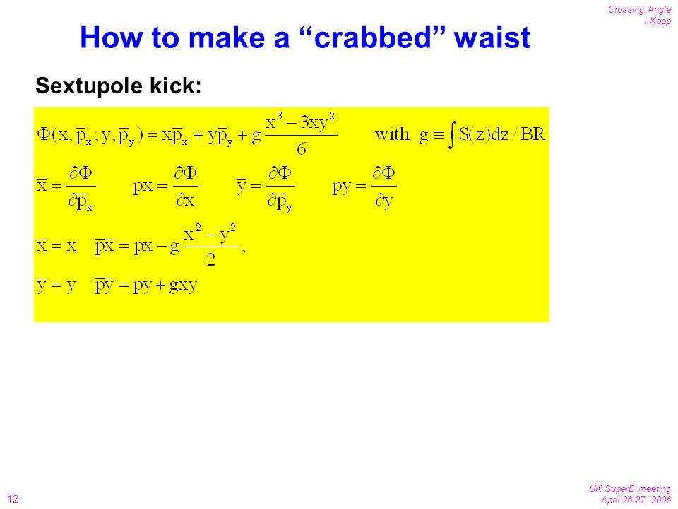 12 Crossing Angle I.Koop UK SuperB meeting April 26-27, 2006 How to make a crabbed waist Sextupole kick:
