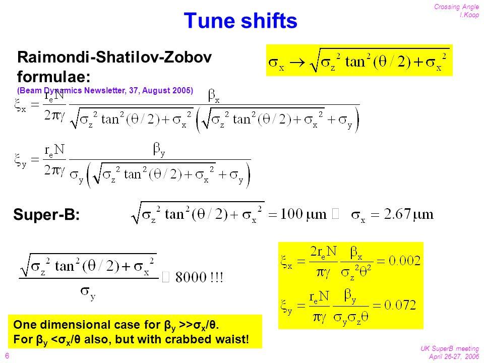 6 Crossing Angle I.Koop UK SuperB meeting April 26-27, 2006 Tune shifts Raimondi-Shatilov-Zobov formulae: (Beam Dynamics Newsletter, 37, August 2005) Super-B: One dimensional case for β y >>σ x /θ.