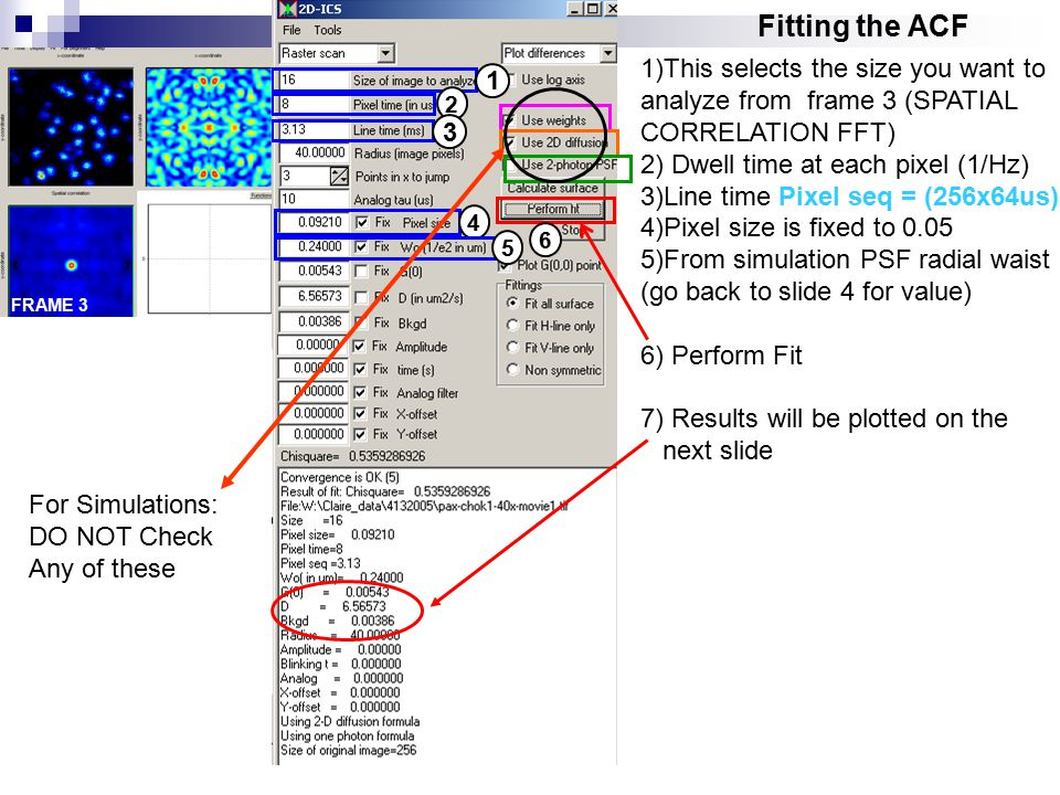 Fitting the ACF 1)This selects the size you want to analyze from frame 3 (SPATIAL CORRELATION FFT) 2) Dwell time at each pixel (1/Hz) 3)Line time Pixel seq = (256x64us) 4)Pixel size is fixed to 0.05 5)From simulation PSF radial waist (go back to slide 4 for value) 6) Perform Fit 7) Results will be plotted on the next slide 1 2 3 4 5 For Simulations: DO NOT Check Any of these FRAME 3 6