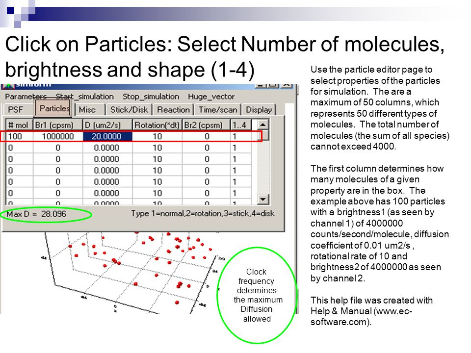 Click on Particles: Select Number of molecules, brightness and shape (1-4) Clock frequency determines the maximum Diffusion allowed Use the particle editor page to select properties of the particles for simulation.