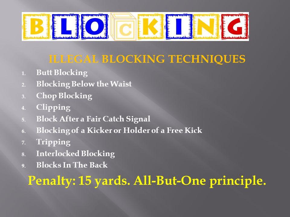 ILLEGAL BLOCKING TECHNIQUES 1. Butt Blocking 2. Blocking Below the Waist 3. Chop Blocking 4. Clipping 5. Block After a Fair Catch Signal 6. Blocking o