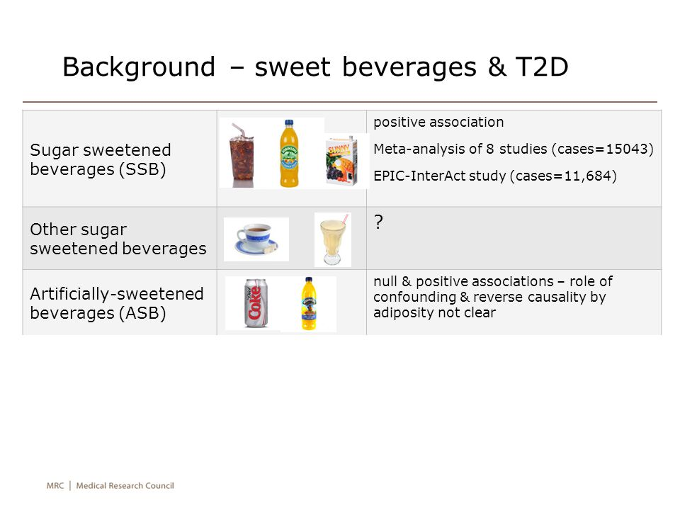 Background – sweet beverages & T2D Sugar sweetened beverages (SSB) positive association Meta-analysis of 8 studies (cases=15043) EPIC-InterAct study (cases=11,684) Other sugar sweetened beverages .