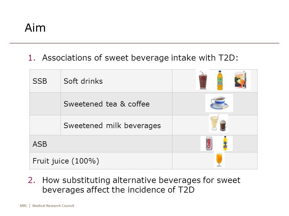 Aim 1.Associations of sweet beverage intake with T2D: 2.How substituting alternative beverages for sweet beverages affect the incidence of T2D SSBSoft drinks Sweetened tea & coffee Sweetened milk beverages ASB Fruit juice (100%)
