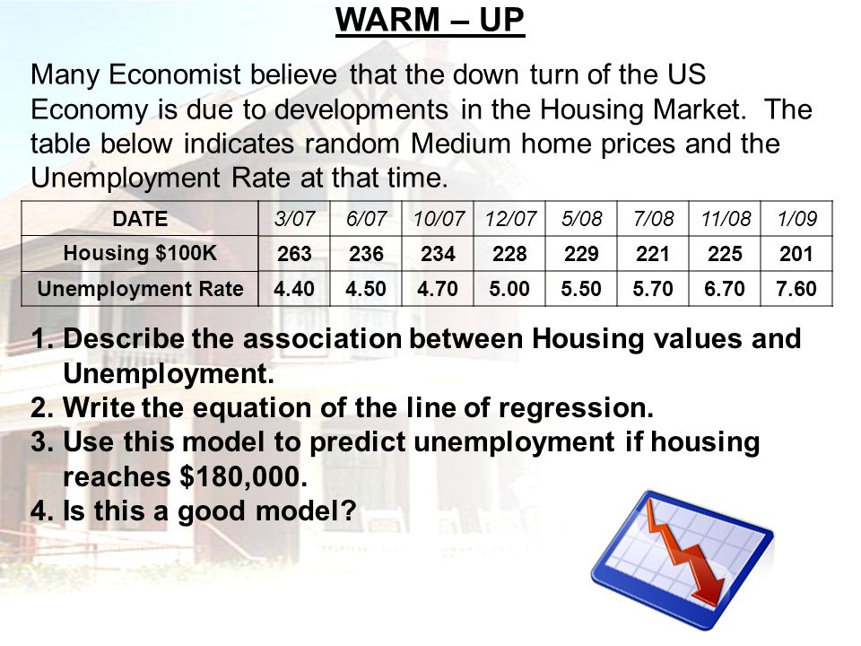 WARM – UP Many Economist believe that the down turn of the US Economy is due to developments in the Housing Market. The table below indicates random M