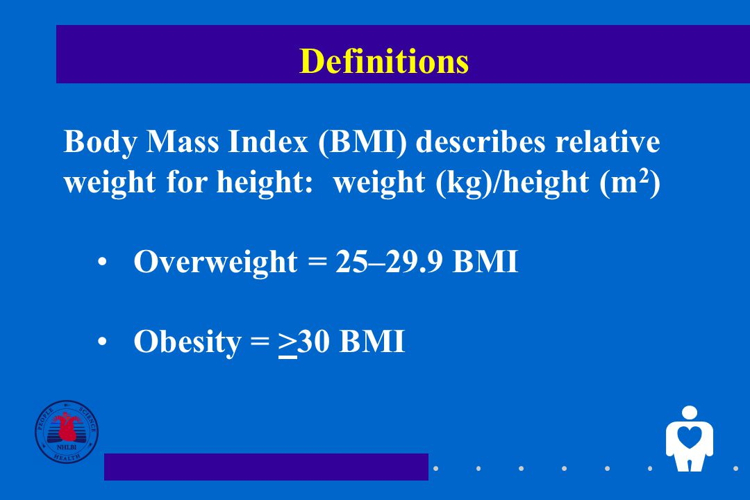 Definitions Body Mass Index (BMI) describes relative weight for height: weight (kg)/height (m 2 ) Overweight = 25–29.9 BMI Obesity = >30 BMI