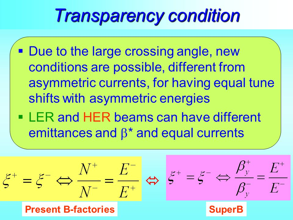 Transparency condition  Due to the large crossing angle, new conditions are possible, different from asymmetric currents, for having equal tune shift