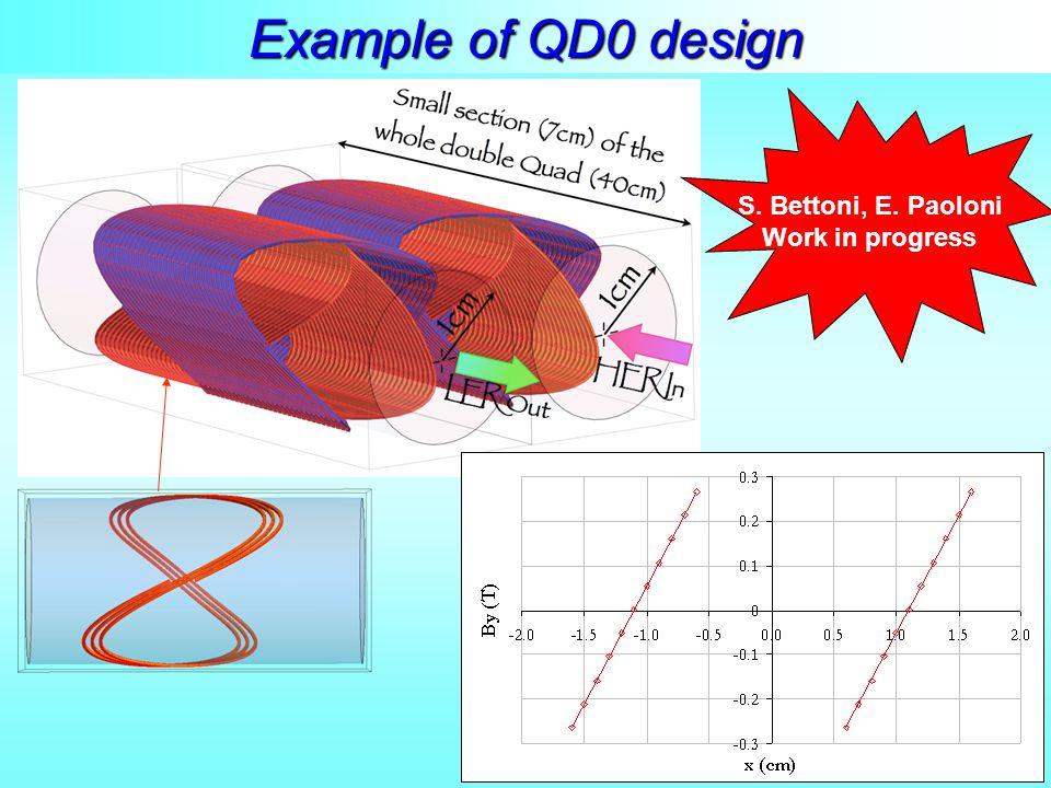 S. Bettoni, E. Paoloni Work in progress Example of QD0 design