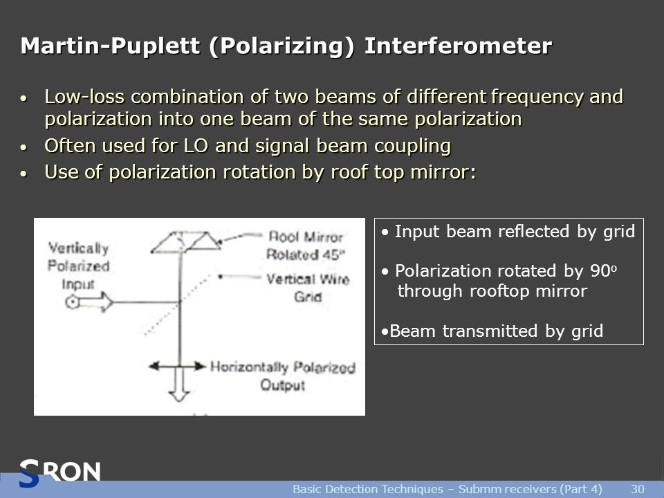 Basic Detection Techniques – Submm receivers (Part 4)30 Martin-Puplett (Polarizing) Interferometer Low-loss combination of two beams of different frequency and polarization into one beam of the same polarization Low-loss combination of two beams of different frequency and polarization into one beam of the same polarization Often used for LO and signal beam coupling Often used for LO and signal beam coupling Use of polarization rotation by roof top mirror: Use of polarization rotation by roof top mirror: Input beam reflected by grid Polarization rotated by 90 o through rooftop mirror Beam transmitted by grid