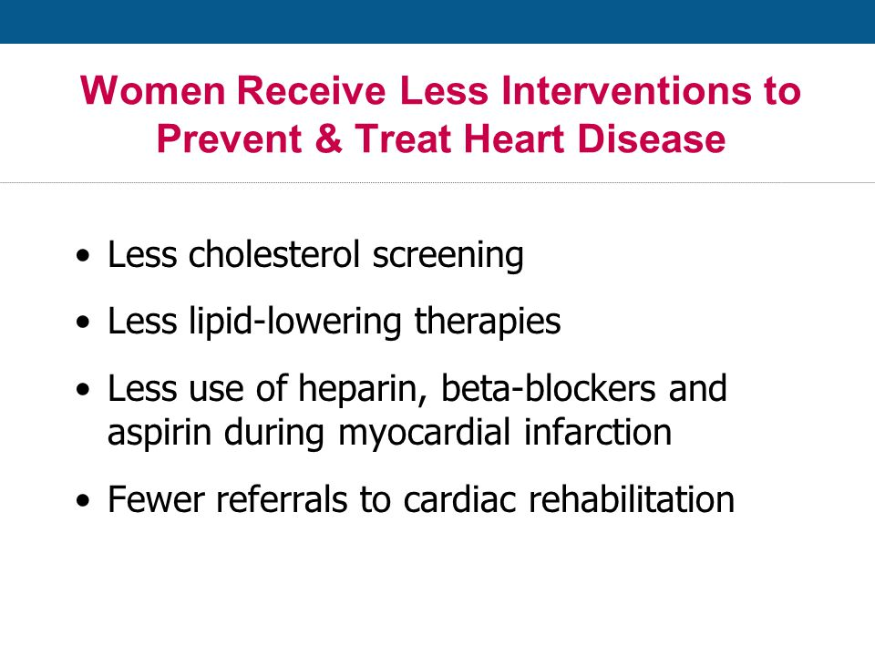Women Receive Less Interventions to Prevent & Treat Heart Disease Less cholesterol screening Less lipid-lowering therapies Less use of heparin, beta-blockers and aspirin during myocardial infarction Fewer referrals to cardiac rehabilitation