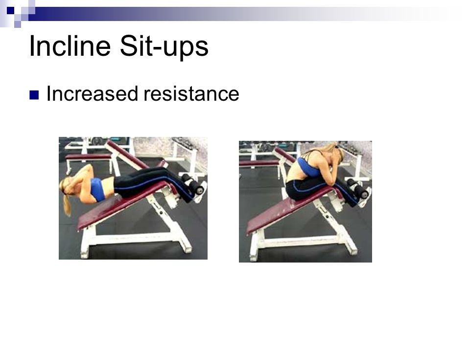 Incline Sit-ups Increased resistance