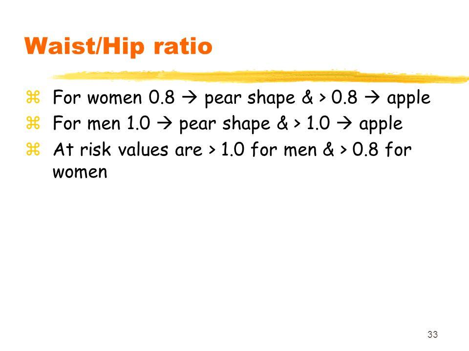 33 Waist/Hip ratio zFor women 0.8  pear shape & > 0.8  apple zFor men 1.0  pear shape & > 1.0  apple zAt risk values are > 1.0 for men & > 0.8 for