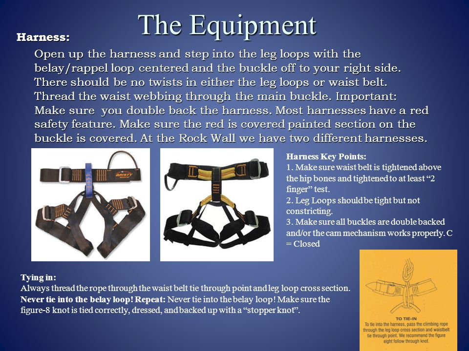 The Equipment Harness: Open up the harness and step into the leg loops with the belay/rappel loop centered and the buckle off to your right side.