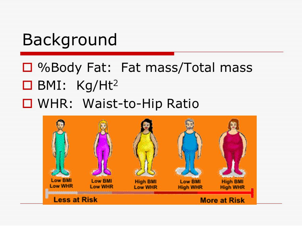 Background  %Body Fat: Fat mass/Total mass  BMI: Kg/Ht 2  WHR: Waist-to-Hip Ratio