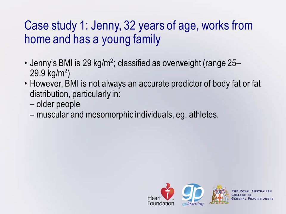 Case study 1: Jenny, 32 years of age, works from home and has a young familyJenny's BMI is 29 kg/m 2 ; classified as overweight (range 25– 29.9 kg/m 2