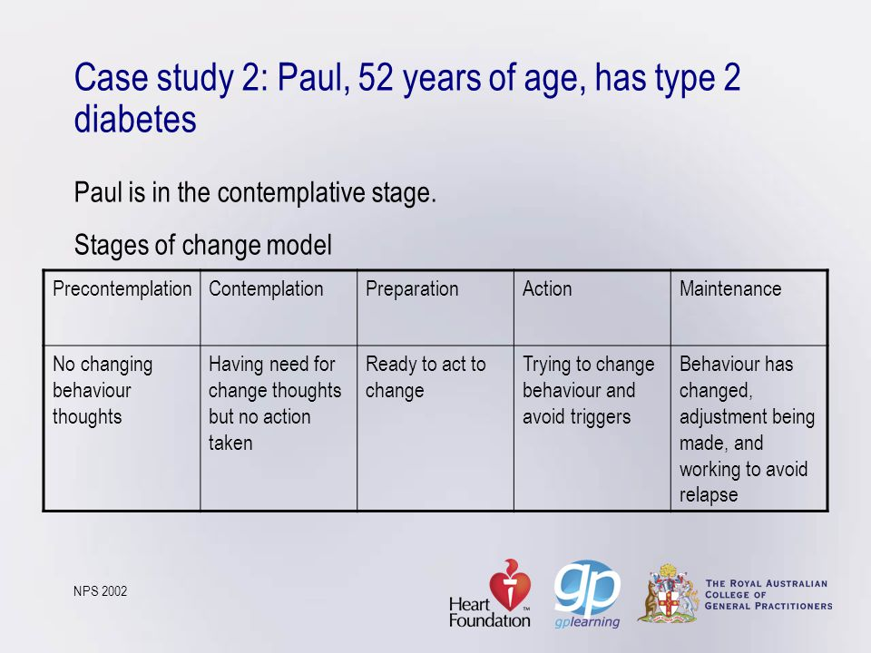 Case study 2: Paul, 52 years of age, has type 2 diabetes Paul is in the contemplative stage. Stages of change model NPS 2002 PrecontemplationContempla