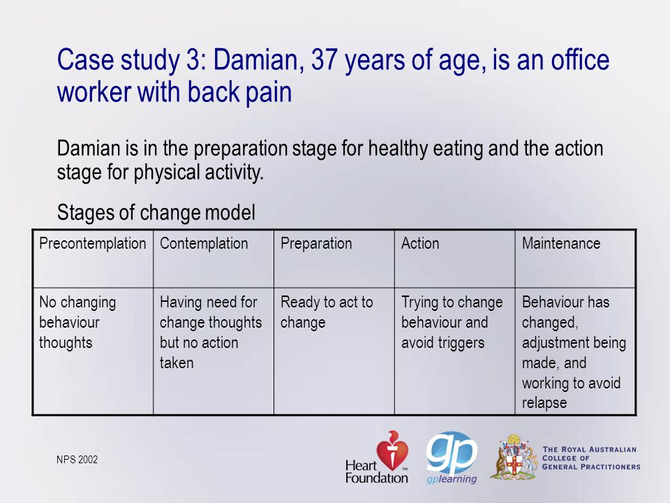 Case study 3: Damian, 37 years of age, is an office worker with back pain Damian is in the preparation stage for healthy eating and the action stage f
