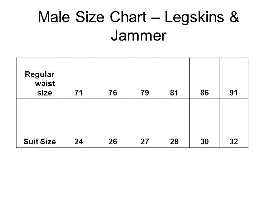 Male Size Chart – Legskins & Jammer Regular waist size717679818691 Suit Size242627283032