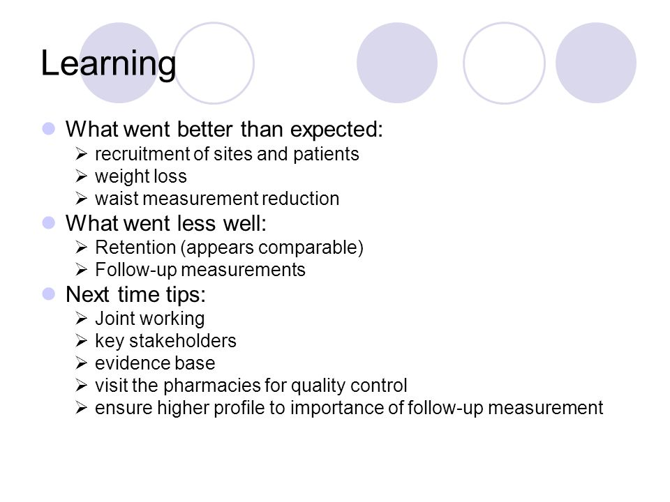 Learning What went better than expected:  recruitment of sites and patients  weight loss  waist measurement reduction What went less well:  Retention (appears comparable)  Follow-up measurements Next time tips:  Joint working  key stakeholders  evidence base  visit the pharmacies for quality control  ensure higher profile to importance of follow-up measurement
