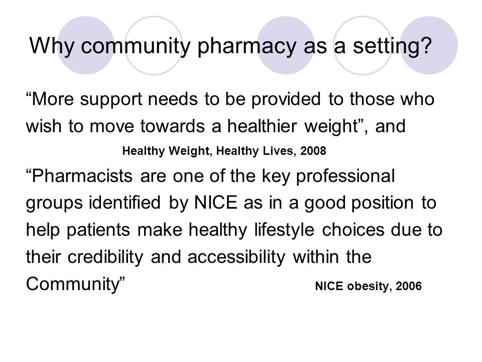 Why community pharmacy as a setting.