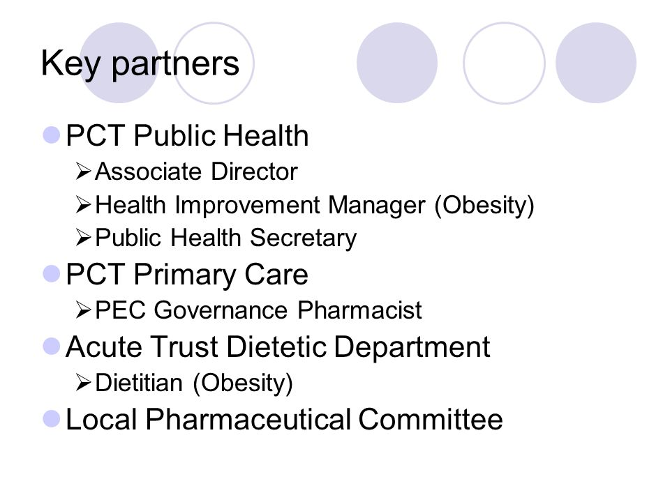 Key partners PCT Public Health  Associate Director  Health Improvement Manager (Obesity)  Public Health Secretary PCT Primary Care  PEC Governance Pharmacist Acute Trust Dietetic Department  Dietitian (Obesity) Local Pharmaceutical Committee