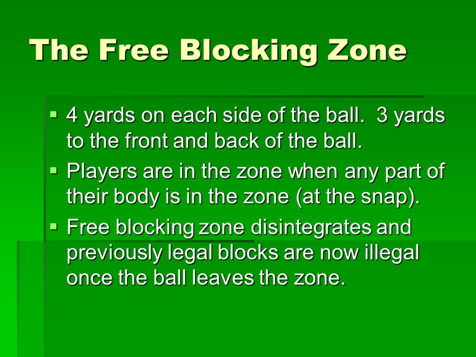 The Free Blocking Zone  4 yards on each side of the ball.