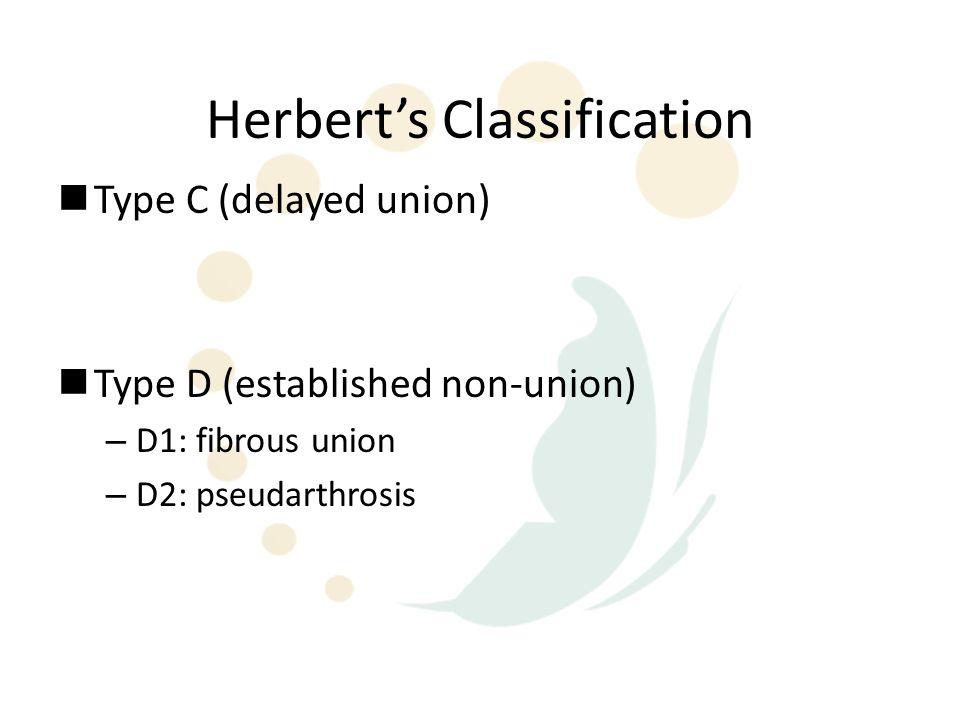 Herbert's Classification Type C (delayed union) Type D (established non-union) – D1: fibrous union – D2: pseudarthrosis