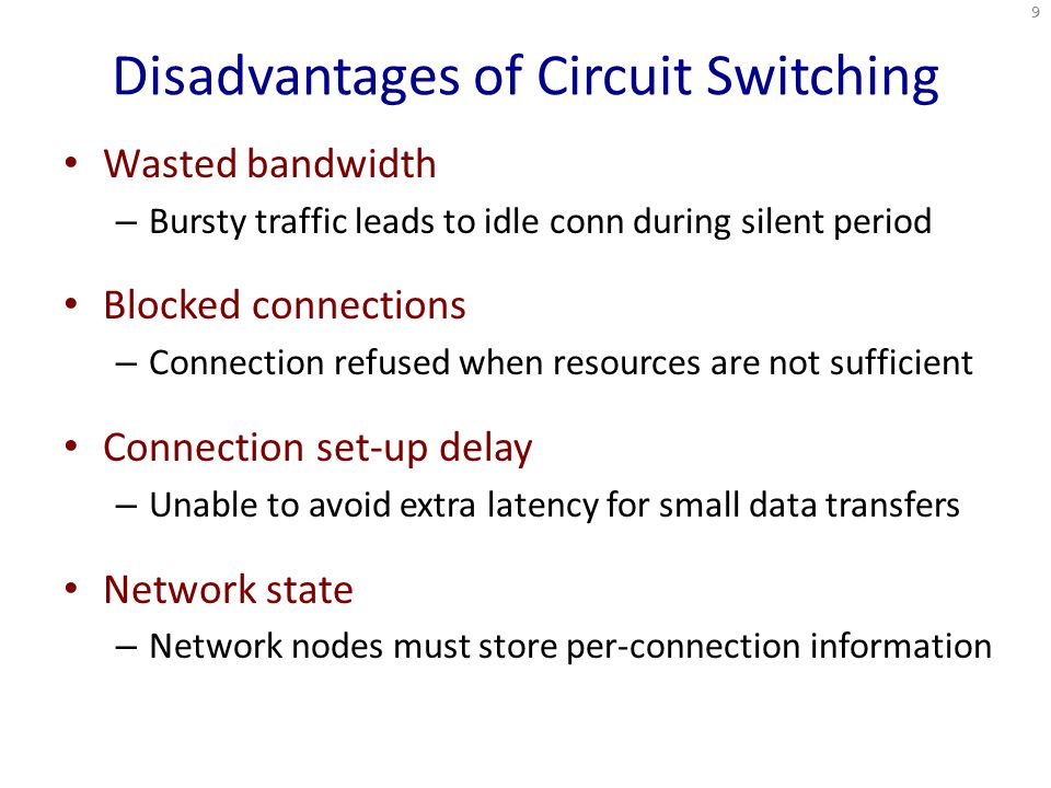 Disadvantages of Circuit Switching Wasted bandwidth – Bursty traffic leads to idle conn during silent period Blocked connections – Connection refused when resources are not sufficient Connection set-up delay – Unable to avoid extra latency for small data transfers Network state – Network nodes must store per-connection information 9