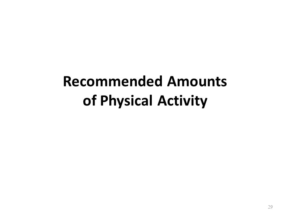 Recommended Amounts of Physical Activity 29