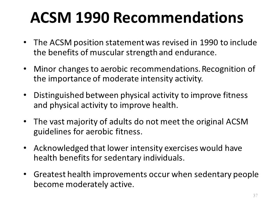 ACSM 1990 Recommendations The ACSM position statement was revised in 1990 to include the benefits of muscular strength and endurance.