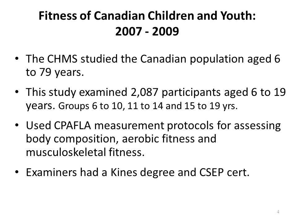 Fitness of Canadian Children and Youth: 2007 - 2009 The CHMS studied the Canadian population aged 6 to 79 years.