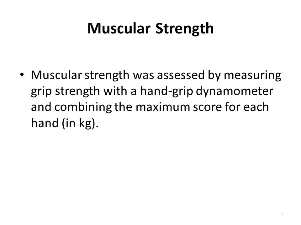 Muscular Endurance Muscular endurance was measured with the partial curl-up test, which required respondents to perform as many partial curl-ups as possible in one minute, at a set pace, to a maximum of 25.