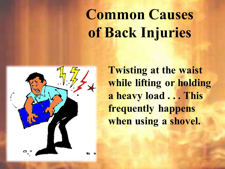 Anytime you find yourself doing one of these things, you should think: Common Causes of Back Injuries DANGER.