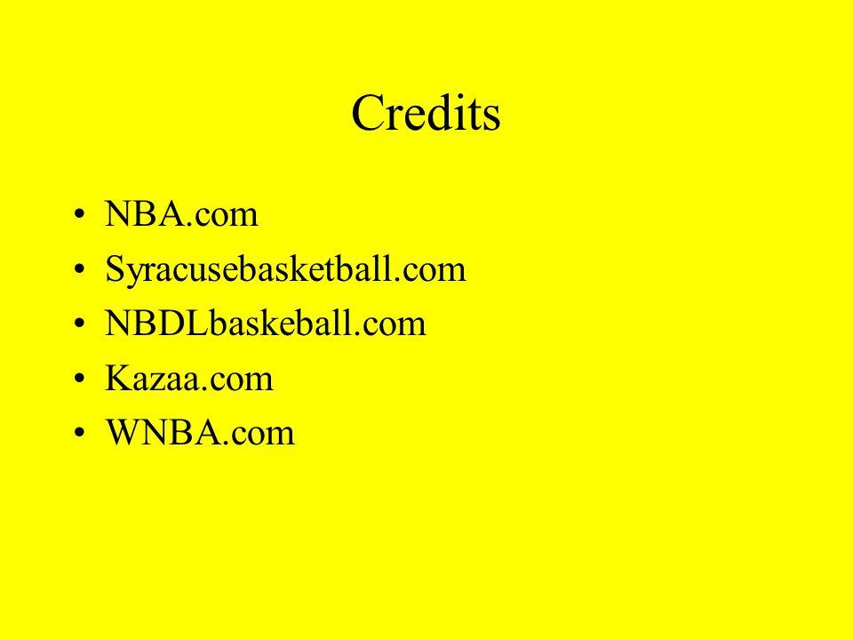 Credits NBA.com Syracusebasketball.com NBDLbaskeball.com Kazaa.com WNBA.com