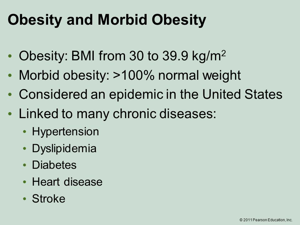 Obesity and Morbid Obesity Obesity: BMI from 30 to 39.9 kg/m 2 Morbid obesity: >100% normal weight Considered an epidemic in the United States Linked to many chronic diseases: Hypertension Dyslipidemia Diabetes Heart disease Stroke