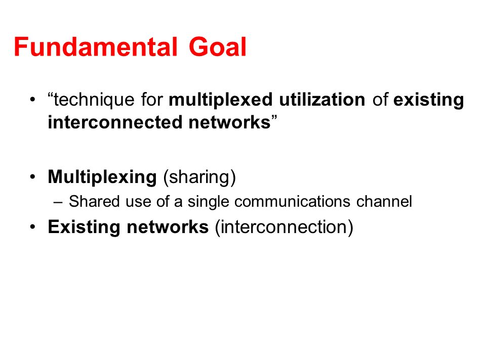 "Fundamental Goal ""technique for multiplexed utilization of existing interconnected networks"" Multiplexing (sharing) –Shared use of a single communicat"