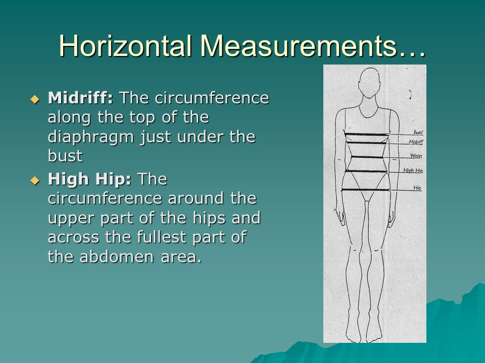 Horizontal Measurements…  Midriff: The circumference along the top of the diaphragm just under the bust  High Hip: The circumference around the upper part of the hips and across the fullest part of the abdomen area.
