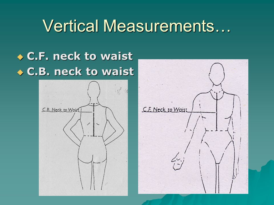 Vertical Measurements…  C.F. neck to waist  C.B. neck to waist