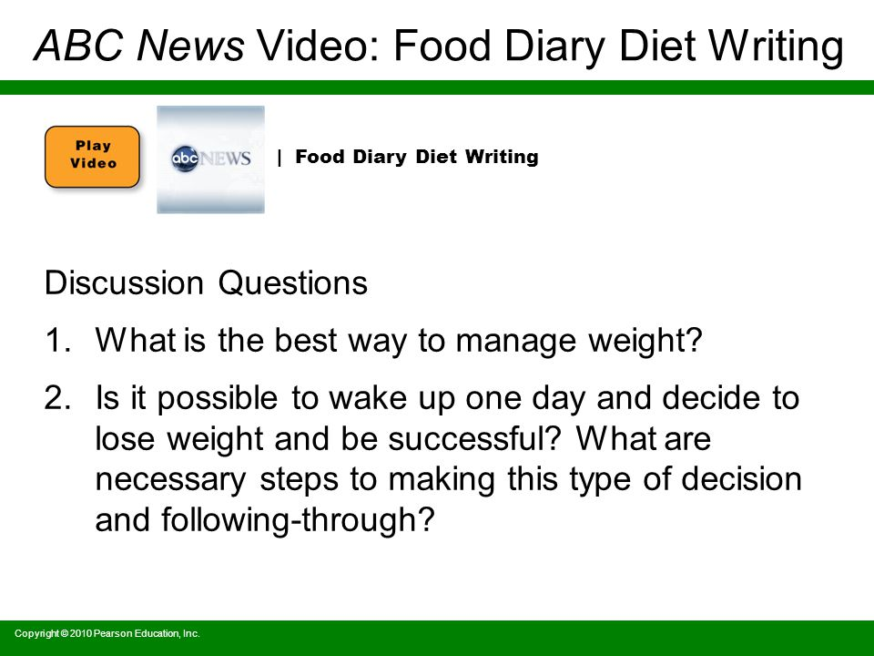 ABC News Video: Food Diary Diet Writing Discussion Questions 1.What is the best way to manage weight.