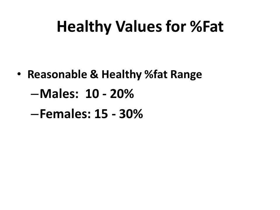 Healthy Values for %Fat Reasonable & Healthy %fat Range – Males: 10 - 20% – Females: 15 - 30%
