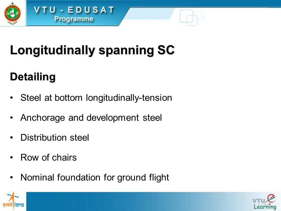 Longitudinally spanning SC Detailing Steel at bottom longitudinally-tension Anchorage and development steel Distribution steel Row of chairs Nominal f