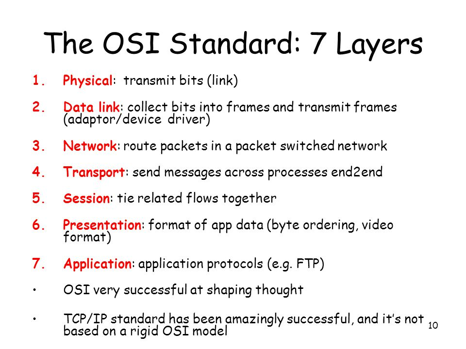 10 The OSI Standard: 7 Layers 1.Physical: transmit bits (link) 2.Data link: collect bits into frames and transmit frames (adaptor/device driver) 3.Network: route packets in a packet switched network 4.Transport: send messages across processes end2end 5.Session: tie related flows together 6.Presentation: format of app data (byte ordering, video format) 7.Application: application protocols (e.g.