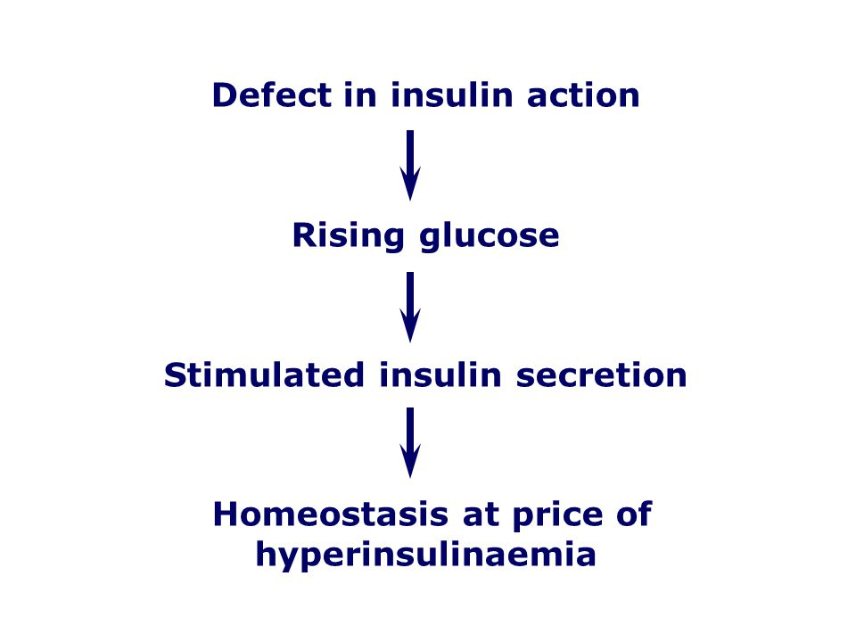 Defect in insulin action Rising glucose Stimulated insulin secretion Homeostasis at price of hyperinsulinaemia