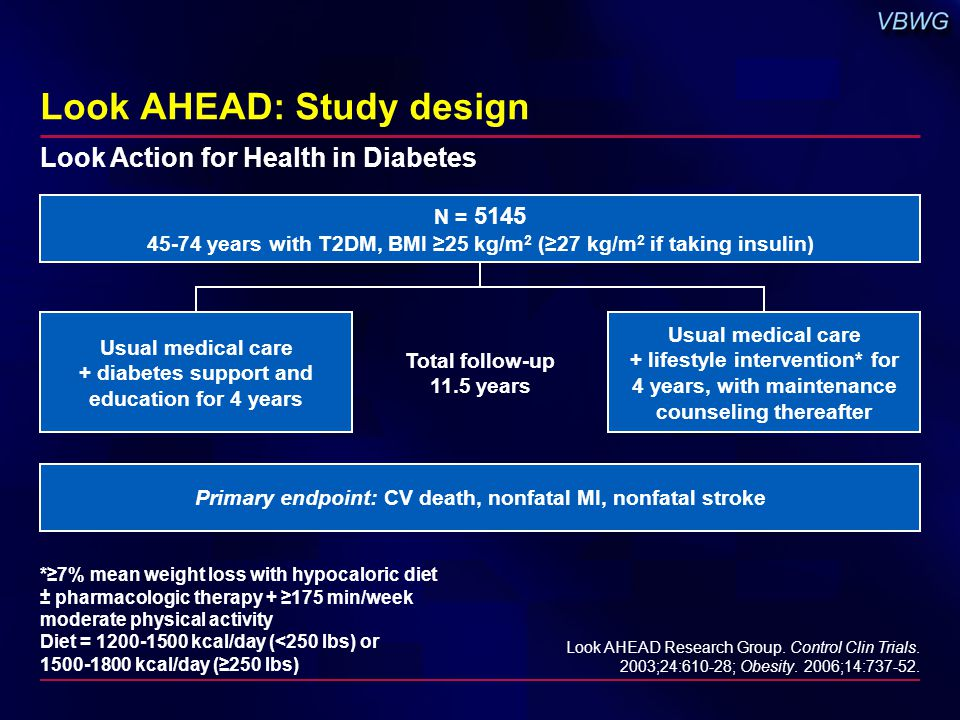 Look AHEAD: Study design Usual medical care + lifestyle intervention* for 4 years, with maintenance counseling thereafter *≥7% mean weight loss with h
