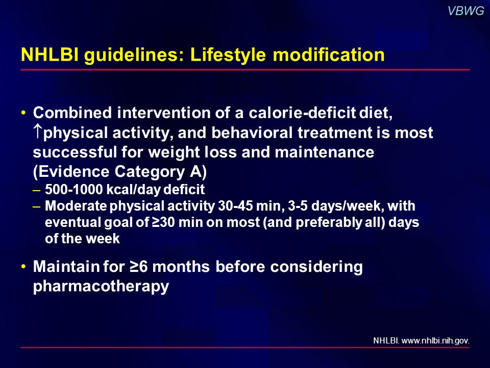 NHLBI guidelines: Lifestyle modification Combined intervention of a calorie-deficit diet,  physical activity, and behavioral treatment is most successful for weight loss and maintenance (Evidence Category A) –500-1000 kcal/day deficit –Moderate physical activity 30-45 min, 3-5 days/week, with eventual goal of ≥30 min on most (and preferably all) days of the week Maintain for ≥6 months before considering pharmacotherapy NHLBI.