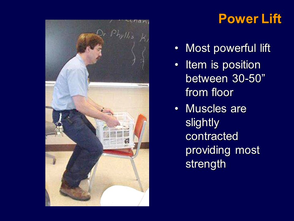 Power Lift Most powerful liftMost powerful lift Item is position between 30-50 from floorItem is position between 30-50 from floor Muscles are slightly contracted providing most strengthMuscles are slightly contracted providing most strength
